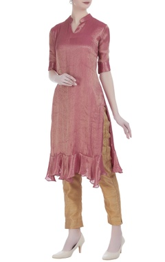 Pink silk brocade straight knee-length tunic
