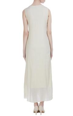 Peach silk embroidered maxi dress