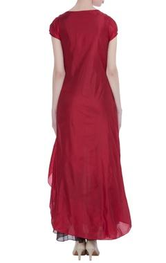 Coffee silk asymmetric maxi dress