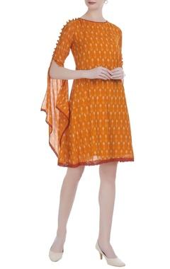 Orange cotton silk ikat short dress