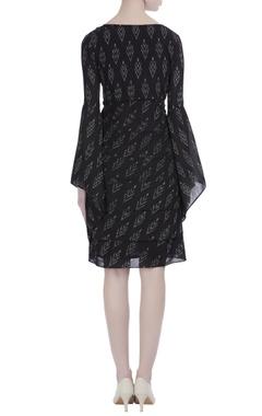 Black cotton silk ikat short dress