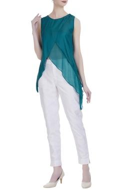 Peacock green silk overlap blouse