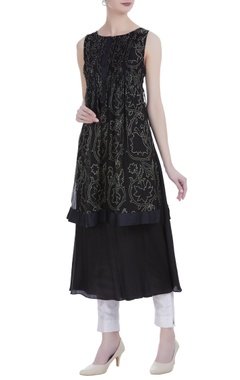 Black silk discharge print & pin tuck knee-length tunic