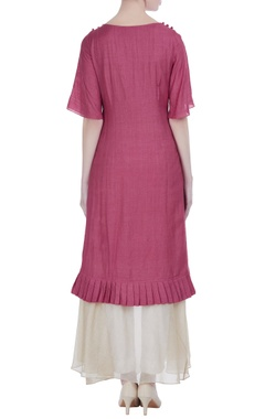 Fuchsia silk double layered & thread work knee-length tunic