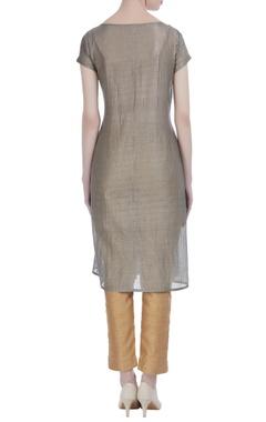 Grey silk printed & striped short tunic