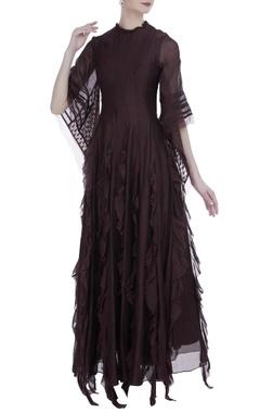 Myoho Coffee silk ruffled maxi dress