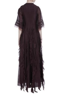 Coffee silk ruffled maxi dress