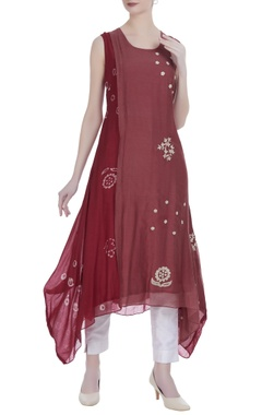 Red silk floral embroidery & printed batik knee-length tunic