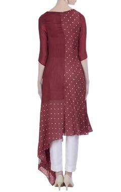 Crimson silk asymmetric knee-length tunic