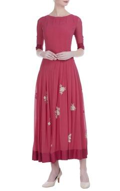 Fuchsia silk embroidered midi dress