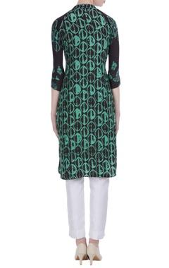 Green silk leaf print short tunic