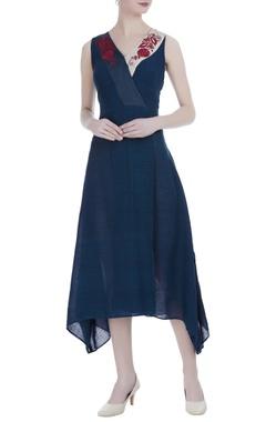 Persian blue silk hand embroidered midi dress
