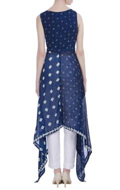 Persian blue silk asymmetric long tunic