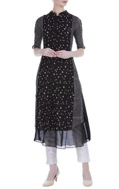 Black cotton printed knee-length tunic