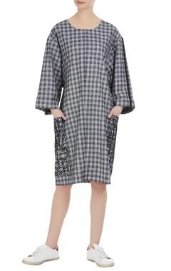 Checkered print oversized dress