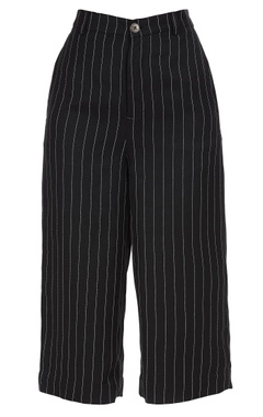 Pinstriped hand embroidered culottes
