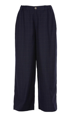 Thread embroidered checkered flared pants