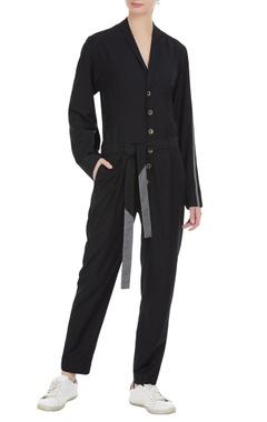 Notch lapel blazer jumpsuit