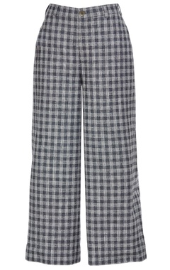 Checkered pattern retro flared pants