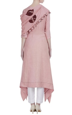 Draped tunic with attached scarf