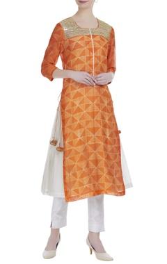 Shibori tunic with embroidery kurta set