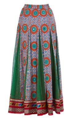 Flared printed maxi skirt