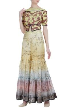 Poonam Dubey Chanderi sequin crop top & gharara pants