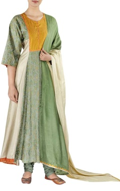 Embroidered yoke kurta with churidar and dupatta