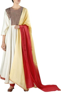 Embellished yoke kurta with churidar and dupatta
