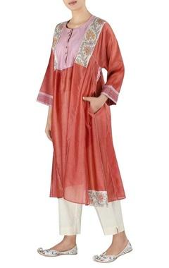 Latha Puttana Chanderi asymmetric style tunic with pants