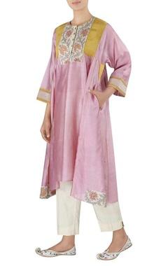 Latha Puttana Chanderi asymmetric tunic with pants
