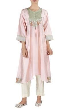 Latha Puttana Chanderi asymmetric tunic with cropped pants