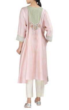 Chanderi asymmetric tunic with cropped pants