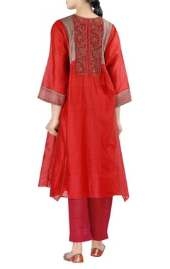 Chanderi embroidered yoke anarkali with pants