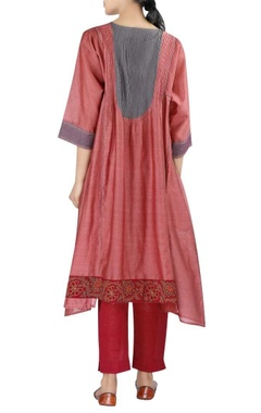Chanderi flared uneven hemline kurta with pants