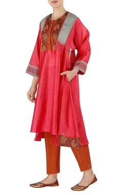 Latha Puttana Chanderi embroidered yoke anarkali with pants