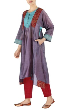 Chanderi pinktuck yoke with cropped pants
