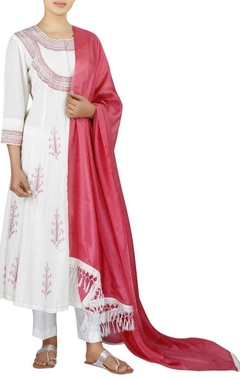 Chanderi anarkali with cropped pants & dupatta