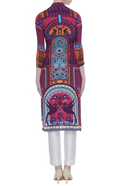 Printed tunic with mandarin collar