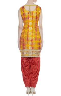Art silk embellished kurta & dhoti set