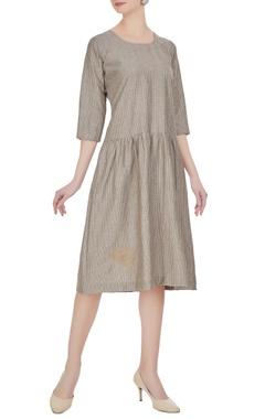 Threadwork embroidered midi dress