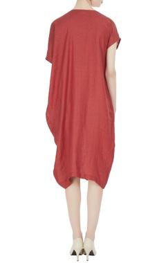 Linen overlap draped style dress
