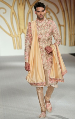 Raw silk floral embroidered sherwani set