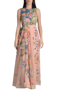 Floral thread embroidered maxi dress