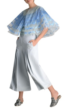 Tulle net fringe cape with culottes