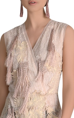 Multi-layered sequin & cord embroidered maxi dress