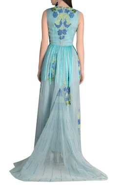 Organza fringe detail maxi dress with long trail