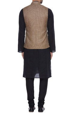 Tussar silk diamond texture nehru jacket