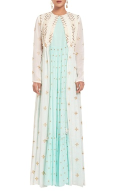 Rriso Thread embroidered front open jacket with dress