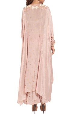 Chiffon & crepe silk embroidered high low tunic with pants